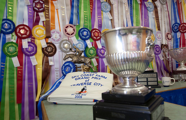 Record-Eagle/Douglas Tesner<br /> Ribbons, cups and cash await the winners at Horse Shows by the Bay.
