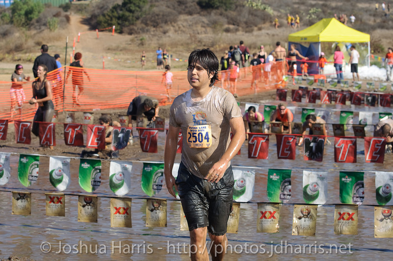 Anthony coming out of the mud pit