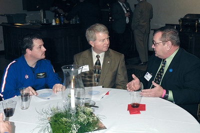 Air Methods Kentucky Flight Paramedic Kevin Callihan (left) and Rep. David Floyd ( 50th District, Minority Whip) listen to KAPA Vice President Joe Prewitt explain legislative concerns during the 2009 KAPA Legislative Reception.