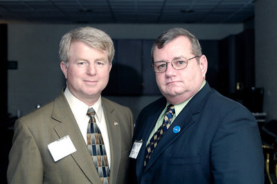 Rep. David Floyd ( 50th District, Minority Whip), left, and KAPA Vice President Joe Prewitt discuss EMS issues during the 2009 KAPA Legislative Reception.