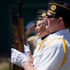 Record-Eagle/Jan-Michael Stump<br /> Ray Mills, left, and Jeff Helferich, of American Legion Post 247 in Bellaire, present arms during the Alden Memorial Day ceremony.