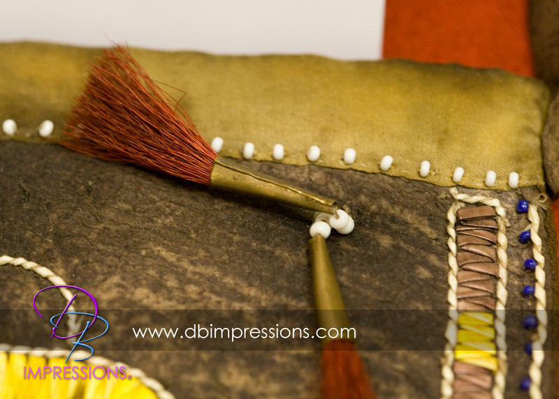 Detail of the tassel on the hunting pouch.