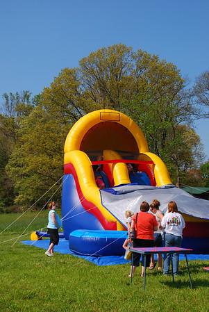 Kids having fun on the slide.