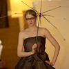 Record-Eagle/Garret Leiva<br /> West student Tara Lemcool models a dress made from 20 umbrellas that defines the term waterproof material.