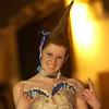 Record-Eagle/Garret Leiva<br /> Her hair in a sky high Mohawk, Suttons Bay student Rachel Wheeler models a dress designed by fellow Suttons Bay student Loren Crego.