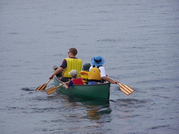 Grandma, grandsons from Denver and her son canoe out to the Island.