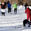 Record-Eagle/Douglas Tesner<br /> Not everything went well for one cross country skier during the 2009 Women's Winter Tour at Crystal Mountain.