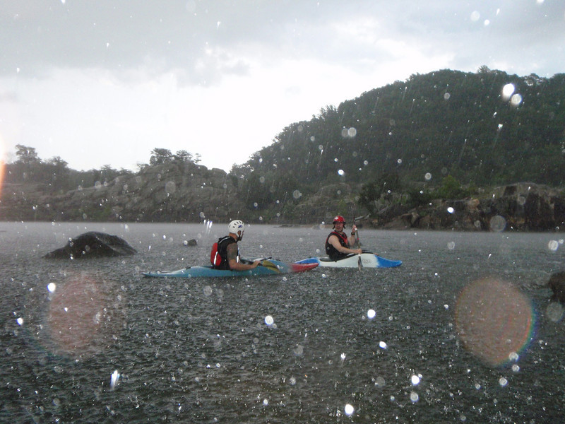 Kayaking in the rain is just as much fun as kayaking on a sunny day!