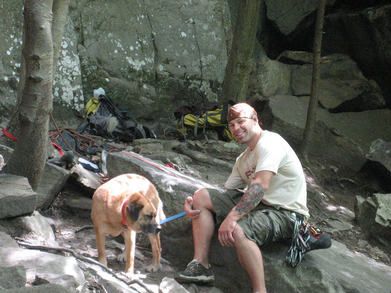 Esten and someone's dog at Sandstonia