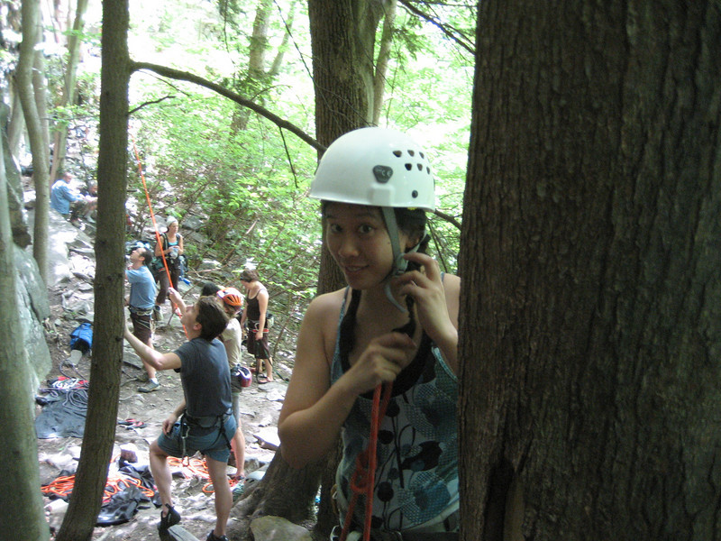 Getting ready to climb - helmet and figure 8 ready