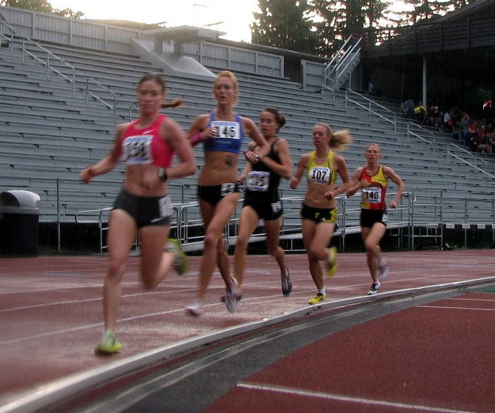 The women's leaders in the 5k at the Portland Track Festival.