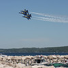 Record-Eagle/Keith King<br /> The U.S. Navy Blue Angels fly in formation over West Grand Traverse Bay Saturday, July 3, 2010 during the National Cherry Festival Air Show.