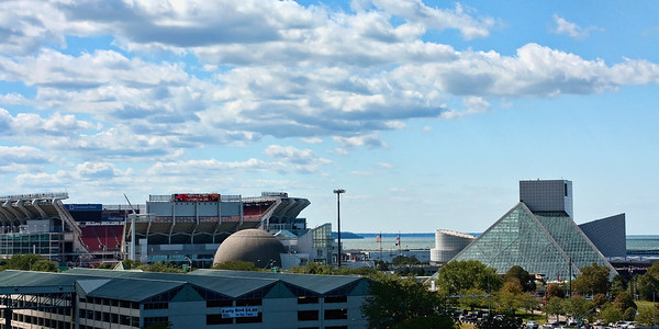Rock Hall, Browns Stadium and the Science Center.