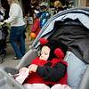 Record-Eagle/Keith King<br /> Palyn Wooters, 1, of Traverse City, is dressed as a ladybug as she sits in her stroller during the Downtown Halloween Walk in Traverse City.