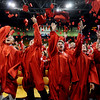 "Fairview graduates Max Schein, left, Nick Morell, Chris Williams,  William Wilsted, and Katelyn Wojciechowski, join classmates in throwing their caps in the air. It was Fairview's 50th graduation.<br /> For more photos and a video, go to  <a href=""http://www.dailycamera.com"">http://www.dailycamera.com</a>.<br /> Cliff Grassmick / May 23, 2010"