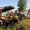 "The ""Mind Your Bee's and Q's"" team, maneuvers  through the rough terrain.<br /> The 2010 Longmont Kinetic Sculpture Race was held at Union Reservoir on Saturday. For more photos and a video of Kinetics, go to  <a href=""http://www.dailycamera.com"">http://www.dailycamera.com</a>.<br /> Cliff Grassmick / August 28, 2010"