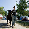 Record-Eagle/Keith King<br /> Zac Chilson, 15, of Kingsley, walks his steer toward its stall Saturday, August 7, 2010 as animals arrive for the start of the Northwestern Michigan Fair.