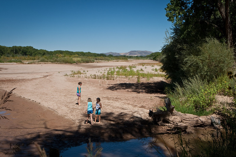 The mighty Rio Grande was dry, although irrigation channels surged nearby.
