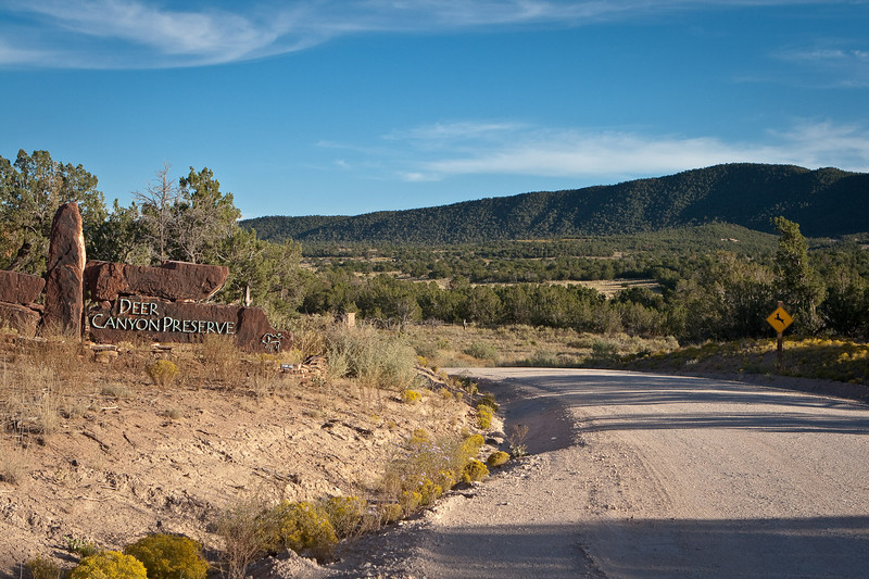 Deer Canyon Preserve, near Mountainair, Kathy owns land in this gated community. Her property is 20 minutes down this unpaved road.