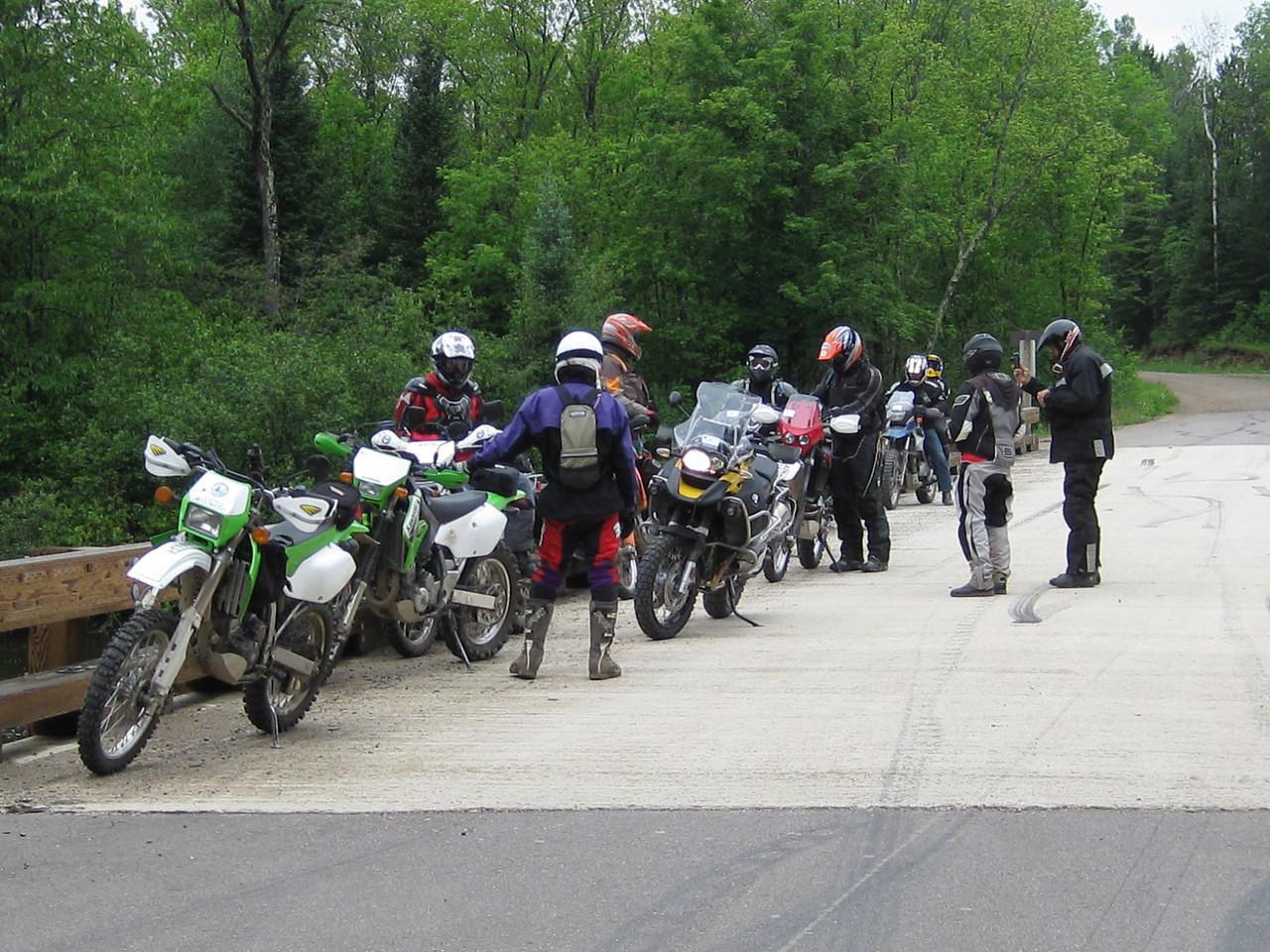ADV Riders taking a break on the Peshtigo Bridge.