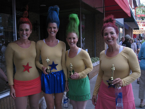 """Record-Eagle/Jodee Taylor<br /> A quartet of trolls (from """"Toy Story 3"""") won the costume prize in the Traverse City Film Festival 5K run."""