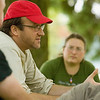 """Record-Eagle/Jan-Michael Stump<br /> Director Nicolas Rossier (cq) talks with filmgoers in Lay Park about """"American Radical: The Trials of Norman Finkelstein,"""" at a Traverse City Film Festival Film Forum on Friday afternoon."""