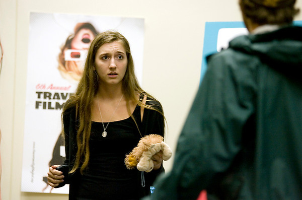 Record-Eagle/Keith King<br /> Elizabeth Guest, an actress in California and a University of Southern California student, acts out a scene Friday, July 30, 2010 during the Traverse City Film Festival film school instructional workshop at Northwestern Michigan College.