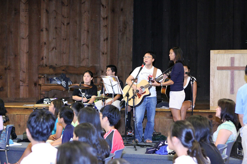 Retreat leaders contributing their musical talent during Sunday mass.
