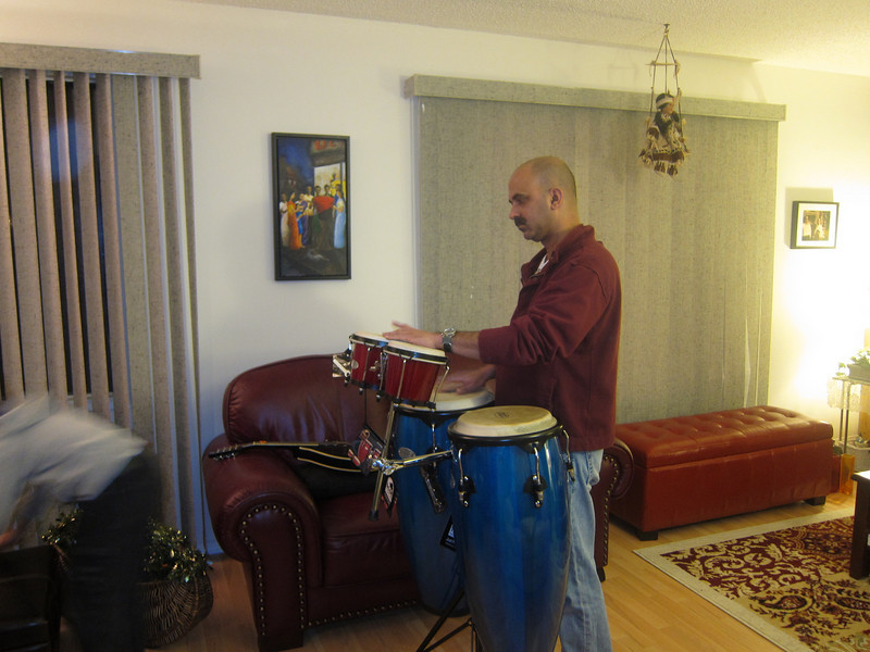 Schain with his Bongo-congo combination