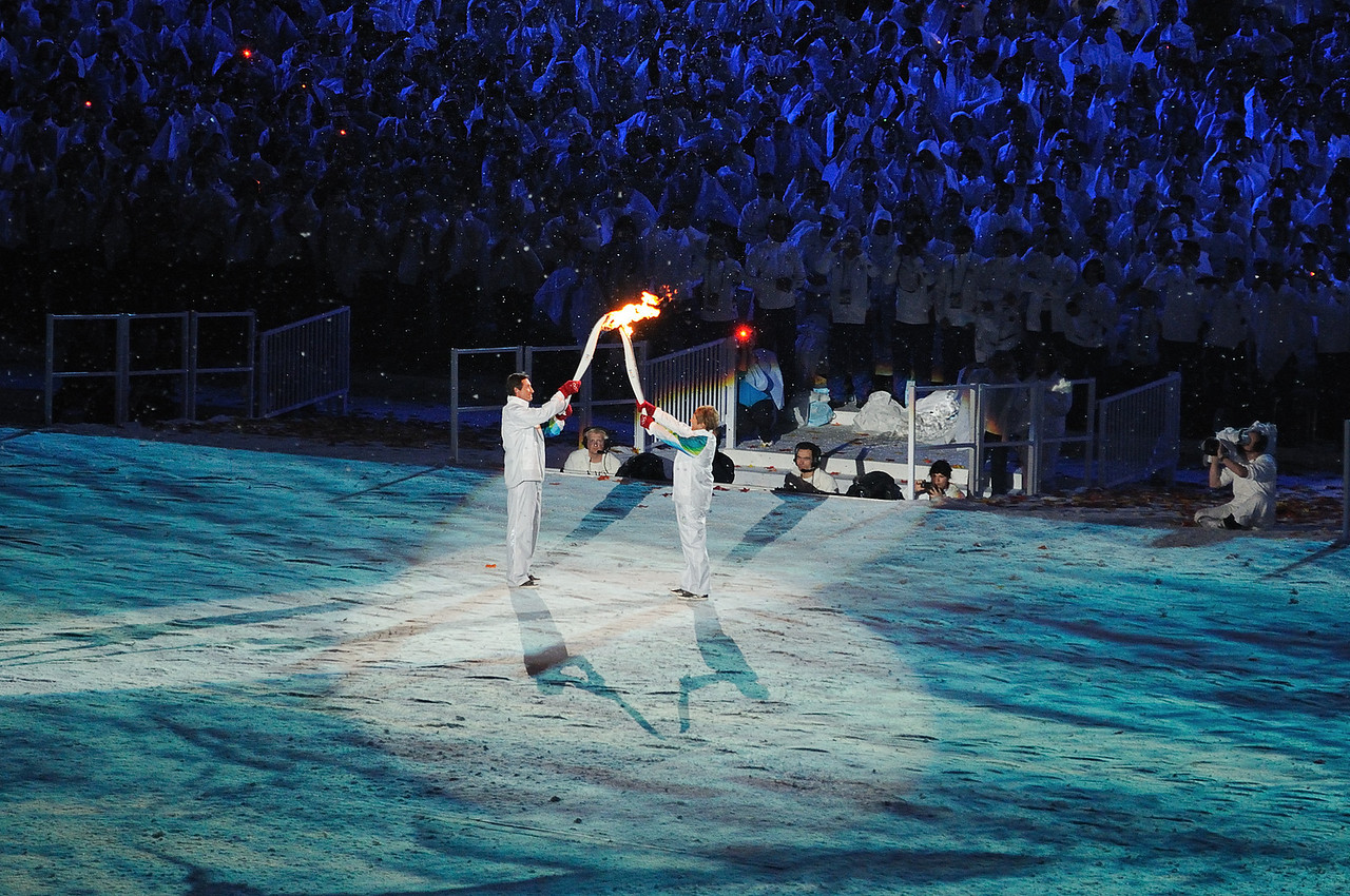 Nancy Greene passes the torch to Wayne Gretzky.