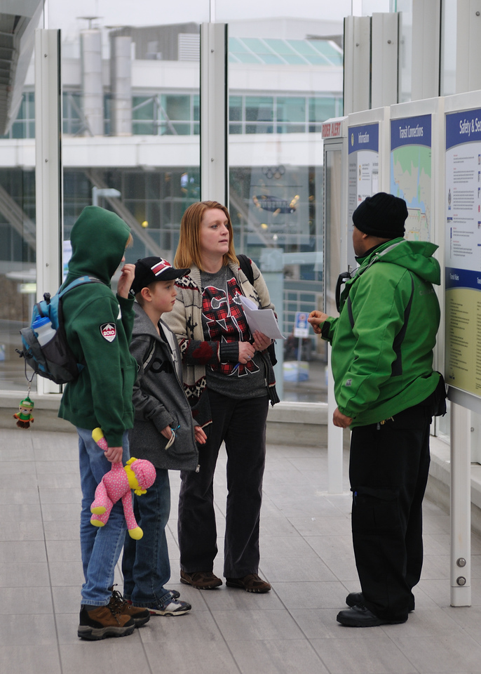 Getting directions at the Canada Line train station