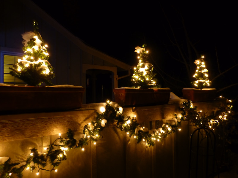 Garland decorating the deck