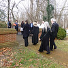 Walking down to the columbarium for the last part of the ceremony