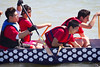 """Race 37 / 500m: Team """"Strathcona Youth Dragons"""" paddles out to the start line for the Division B Consolation race at the 2011 Steveston Dragon Boat Festival."""