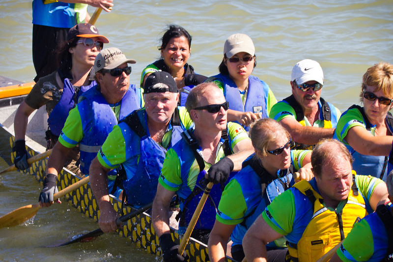 "Race 38 / 500m: Team ""FLCC SOAR"" paddles to the start line for the Division B Championship race at the 2011 Steveston Dragon Boat Festival."