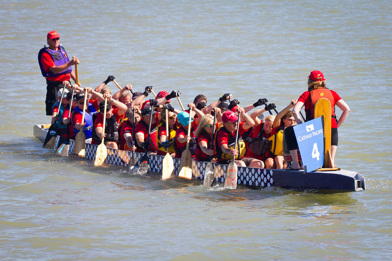 """Race 39 / 500m: Team """"FLCC Fort Fusion""""  paddles out to the start line for the Division A Consolation race at the 2011 Steveston Dragon Boat Festival."""