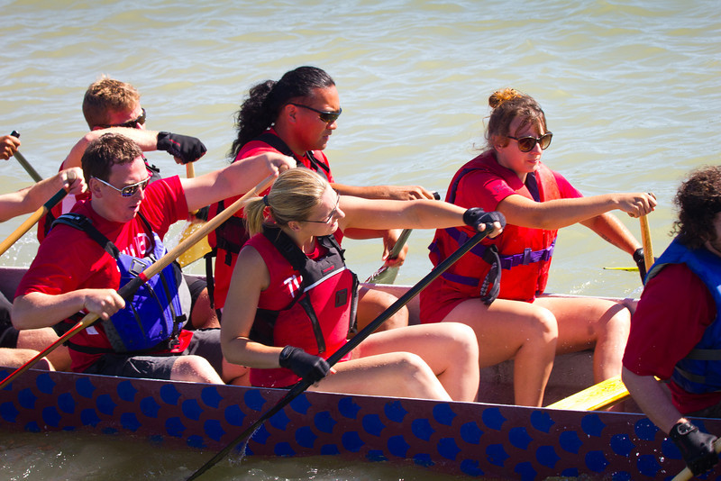 "Race 39 / 500m: Team ""Twisted Hips"" paddles out to the start line for the Division A Consolation race at the 2011 Steveston Dragon Boat Festival."