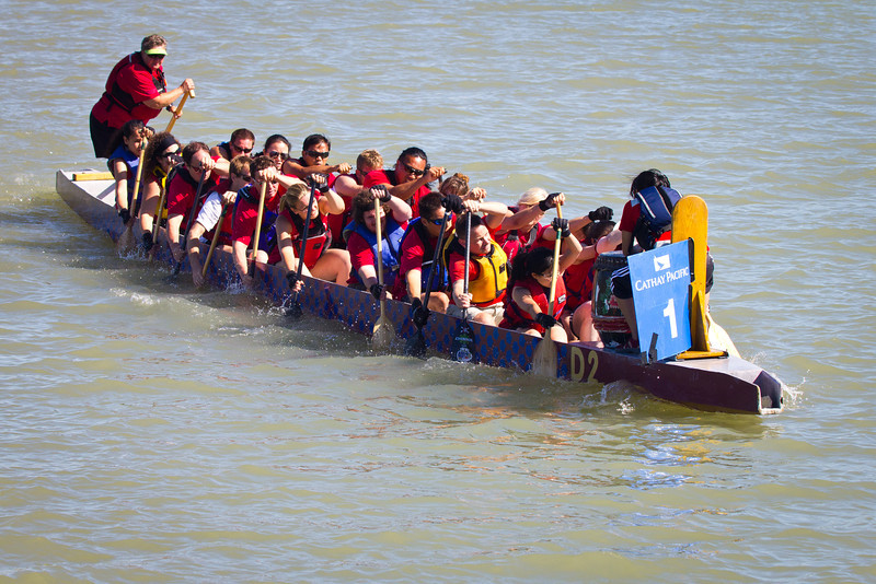 """Race 39 / 500m: Team """"Twisted Hips"""" paddles out to the start line for the Division A Consolation race at the 2011 Steveston Dragon Boat Festival."""