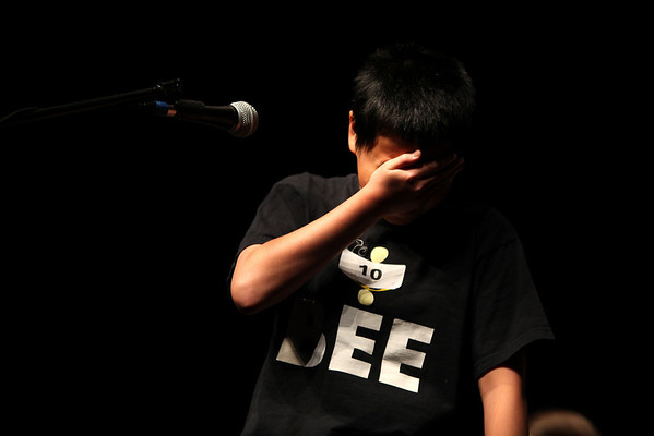 Isaac Ng ,13, student from Twin Peaks Charter Academy Middle School misspells a word during the final round of the 2011 Regional Spelling Bee held at Monarch High School Saturday Feb. 19, 2011. Chancey Bush/ The Camera