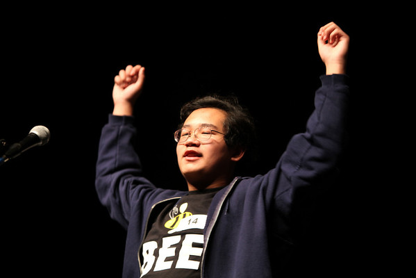 "David Phan, 14, student from Platt Middle School spells the final word correctly and wins first place at the Camera 2011 Regional Spelling Bee held at Monarch High School Saturday Feb. 19, 2011. Phan will be competing in the Scripps National Spelling Bee in Washington D.C. this coming May. <br /> For more photos of the 2011 Camera Regional Spelling Bee, go to  <a href=""http://www.dailycamera.com"">http://www.dailycamera.com</a><br /> Chancey Bush / The Camera"