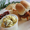 Record-Eagle/Jan-Michael Stump<br /> Curried cherry chicken, cherry salsa and pulled chicken sliders were among the offerings at the Cherries Grand Buffet Friday at the City Opera House.