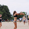 Record-Eagle/Keith King<br /> Katherine Oetjens, of Traverse City, hits the ball near teammate Anne Friedlander, left, of Traverse City, as the two compete Saturday, July 2, 2011 in the Two-Person Beach Volleyball Tournament near West End Beach during the opening day of the National Cherry Festival.