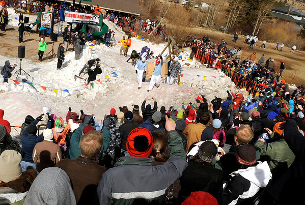 "The crowd cheers on the teams competing in the coffin races on Saturday, March 5, during ""Frozen Dead Guy Days"" in Nederland. For more photos and video go to  <a href=""http://www.dailycamera.com"">http://www.dailycamera.com</a><br /> Jeremy Papasso/ Camera"