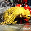 PolarPlunge002.jpg Ben Savage pulls himself out of an icy pond during the Polar Plunge on Saturday March, 5, during the 10th annual Frozen Dead Guy Days in Nederland. <br /> Chancey Bush / The Camera