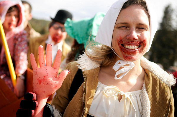 "Stephanie Latimer, of Denver, marches with her team ""Donner Party"" during the parade on Saturday, March 5, during ""Frozen Dead Guy Days"" in Nederland. For more photos and video go to  <a href=""http://www.dailycamera.com"">http://www.dailycamera.com</a><br /> Jeremy Papasso/ Camera"