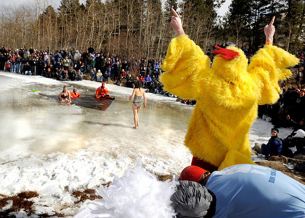 "Ben Savage, 35, of Boulder, wears his chicken suit while cheering for other participants in the Polar Plunge on Saturday, March 5, during ""Frozen Dead Guy Days"" in Nederland. For more photos and video go to  <a href=""http://www.dailycamera.com"">http://www.dailycamera.com</a><br /> Jeremy Papasso/ Camera"
