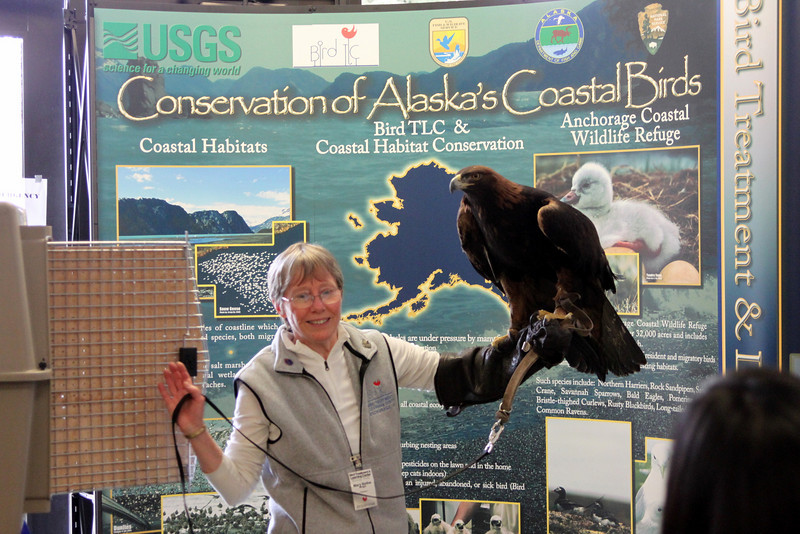 Mary Beth and Denali the golden eagle