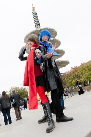 Cosplayers at the 2011 J-POP Summit Festival with the Japantown pagoda in the background
