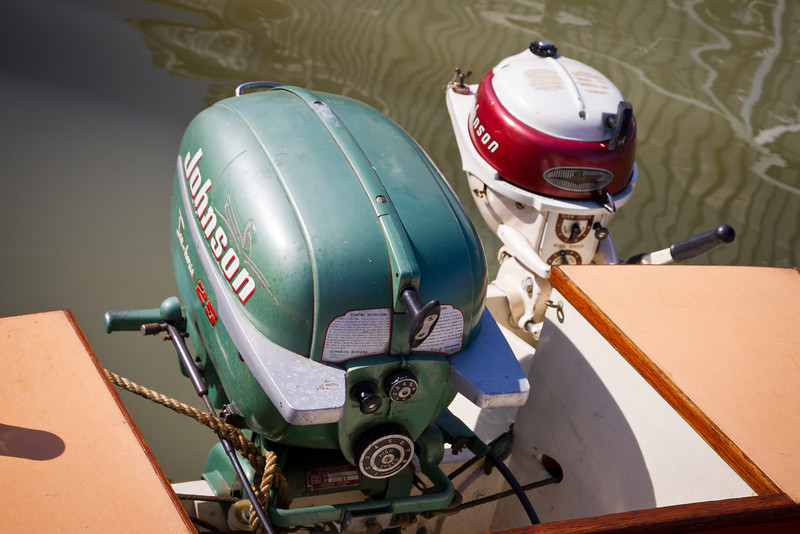 "Antique outboard motors on the ""Mary S"" at the 2011 Richmond Maritime Festival."
