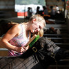 Record-Eagle/Jan-Michael Stump<br /> Molly Whiting, 15, brushes Mabel in her pen Saturday at the Northwestern Michigan Fair.